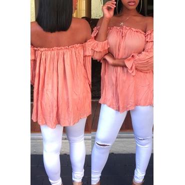 Stylish Dew Shoulder Drape Design Pink Polyester Tops