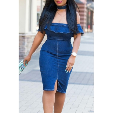 Stylish Dew Shoulder Falbala Design Blue Denim Sheath Knee Length Dress(Without Necklace)