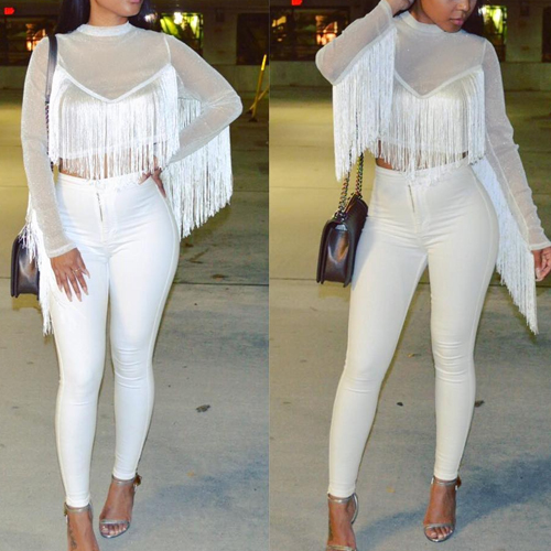 Stylish Round Neck Long Sleeves Tassel Design White Nylon Shirts