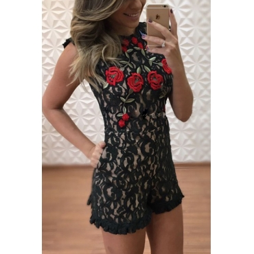 Sexy Embroidered Design Backless Black Lace One-piece Skinny Jumpsuits