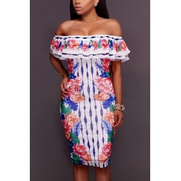 Stylish Dew Shoulder Printed Falbala Design White Polyester Sheath Knee Length Dress