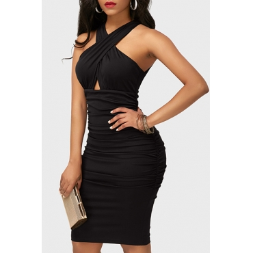 Sexy V Neck Sleeveless Drape Design Black Healthy Fabric Sheath Knee Length Dress
