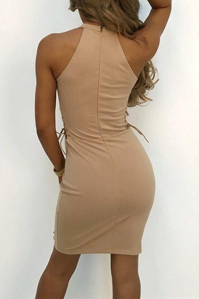 Stylish Round Neck Khaki Polyester Sheath Mini Dress