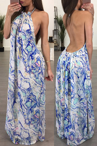 Sexy Backless Polyester Ankle Length Dress(Non Positioning Printing)