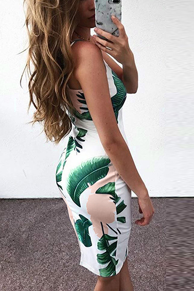 Stylish V Neck Non Positioning Printing White Polyester Sheath Knee Length Dress