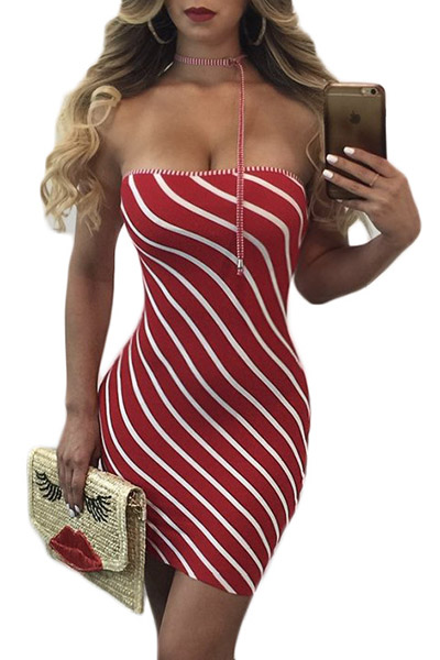 Stylish Dew Shoulder Striped Red Cotton Sheath Mini Dress