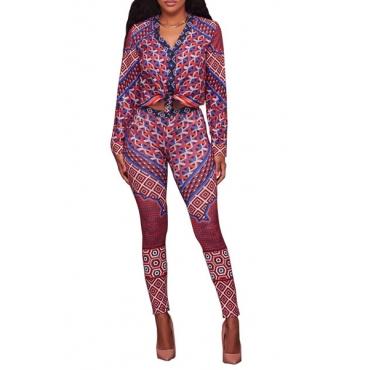 Euramerican V Neck Long Sleeve Patchwork Orange+Purple Milk Fiber Two-piece Pants Set