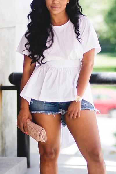 Leisure Round Neck mangas curtas camisas de algodão branco Backless