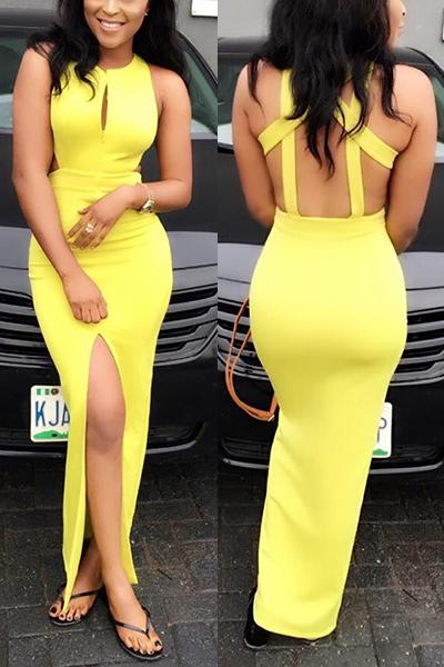 Lemon yellow backless Sheath Dresses