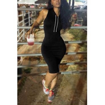 Leisure Black Milk Fiber Sheath Knee Length Dress