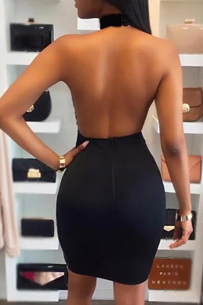 Sexy runder Hals Sequined dekorative schwarze Polyester-Mantel knielangen Kleid (ohne Futter)