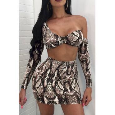 Sexy Snakeskin Printing Cotton Two-piece Skirt Set