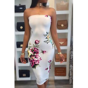 Trendy Dew Shoulder Floral Print White Milk Fiber Sheath Knee Length Dress(Without Choker)