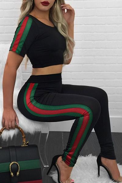 Leisure cuello redondo mangas cortas patchwork negro veneciano de dos piezas pantalones conjunto