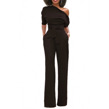 Stylish One-shoulder Black Polyester One-piece Jumpsuits(With Belt)