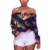 Stylish Long Sleeves Pineapple Printing Knitting T