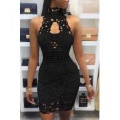 Sexy Backless Black Lace Sheath Mini Dress(Without Lining)