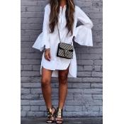 Cotton Casual O neck Long Sleeve A Line Mini Dress