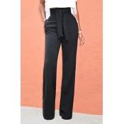 Pantalones De Algodón Negro Con Cordones Y Cintura Alta Con Estilo