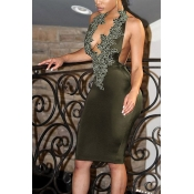 Sexy V Neck Backless Army Green Polyester Sheath Knee Length Dress