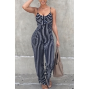 Stylish Striped Royalblue Cotton One-piece Jumpsuits