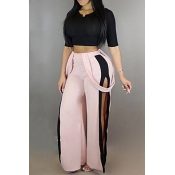 Stylish Elastic Waist Patchwork Pink Blending Pants