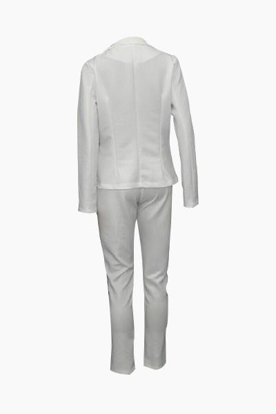 Stylish Turndown Collar Long Sleeves White Polyester Two-piece Pants Set