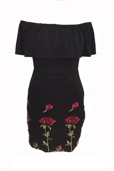 Elegante de rocío hombro rosa impreso algodón negro mezcla mini vestido