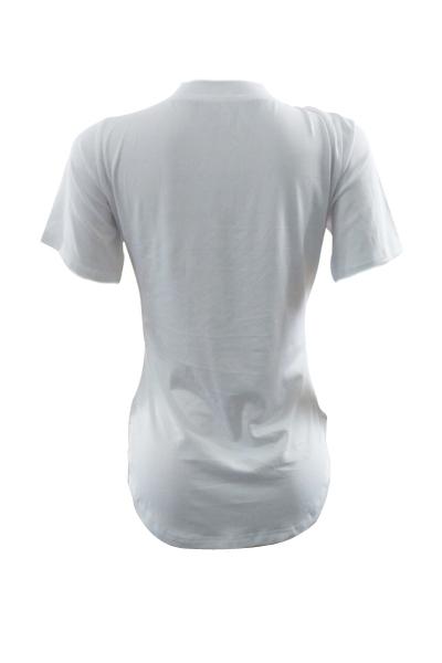 Maglie a maniche corte rotonde Leisure T-shirt in cotone bianco stampato