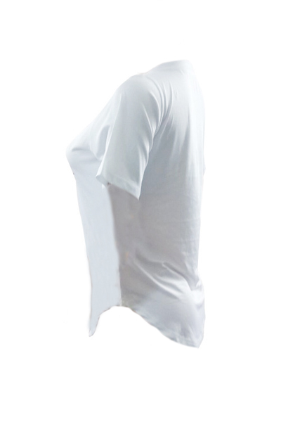 Leisure Round Neck Mangas curtas T-shirt de algodão branco impresso