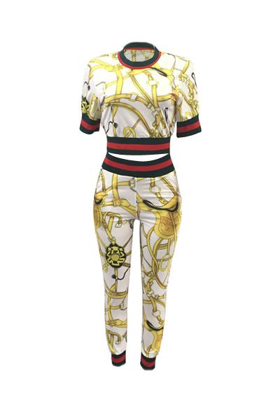 Fashion Round Neck Printed Patchwork White Cotton Two-piece Pants Set