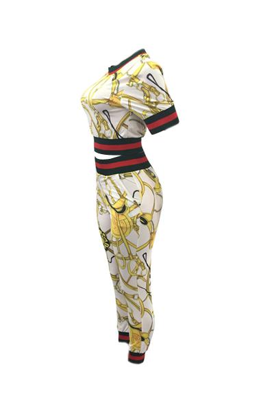Moda de cuello redondo impreso Patchwork de algodón blanco de dos piezas pantalones Set
