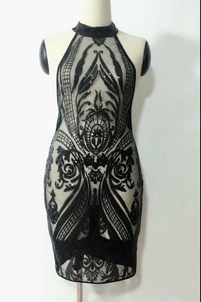 Сексуальная круглая шея с блестками Декоративное черное полиэфирное платье с коленной длиной до колен (без подкладки)