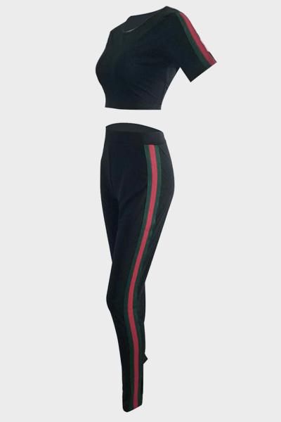 Leisure Round Neck Short Sleeves Patchwork Black Venetian Two-piece Pants Set