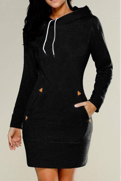 Leisure Long Sleeves Black Cotton Hoodies
