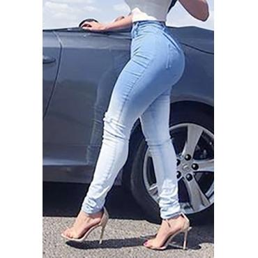Jeans Jeans regolari dei pantaloni regolari della vita della zip del denim