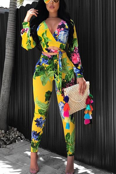 Стильные V-образным вырезом с длинными рукавами с напечатанными желтыми венецианскими штанами из двух частей