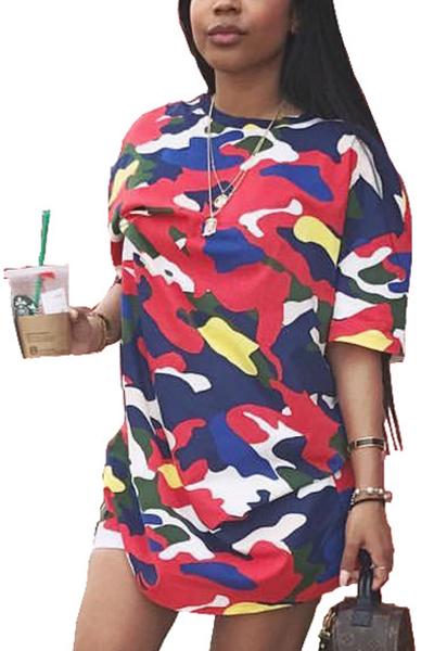 Stylish Round Neck Half Sleeves Printed Polyester T-shirt
