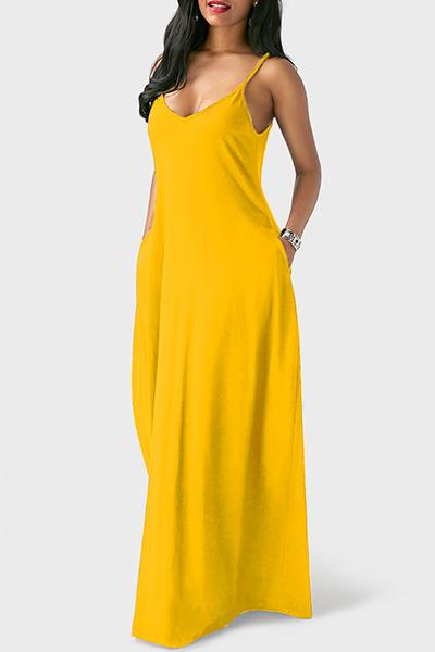 Lässige V-Ausschnitt Asymmetrische Gelb Mischen Boden Länge Kleid
