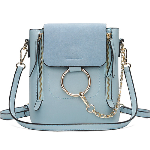 Stylish Zipper Design Light Blue PU Crossbody Bags