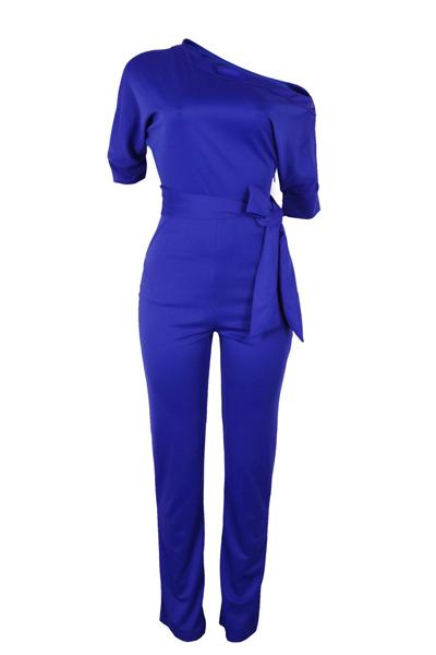 Elegante uno-spalla blu poliestere un pezzo Jumpsuits (con cintura)