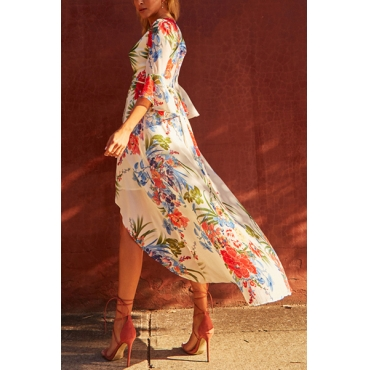 Fashion V Neck Printed White Floor length Dress