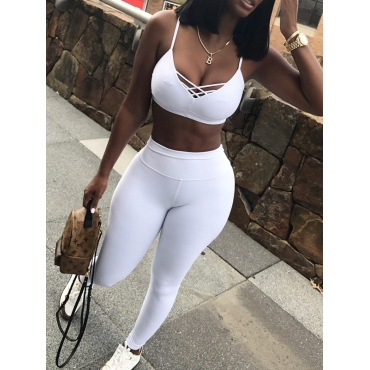 White Cotton Pants Solid V Neck Sleeveless Sexy Two Pieces
