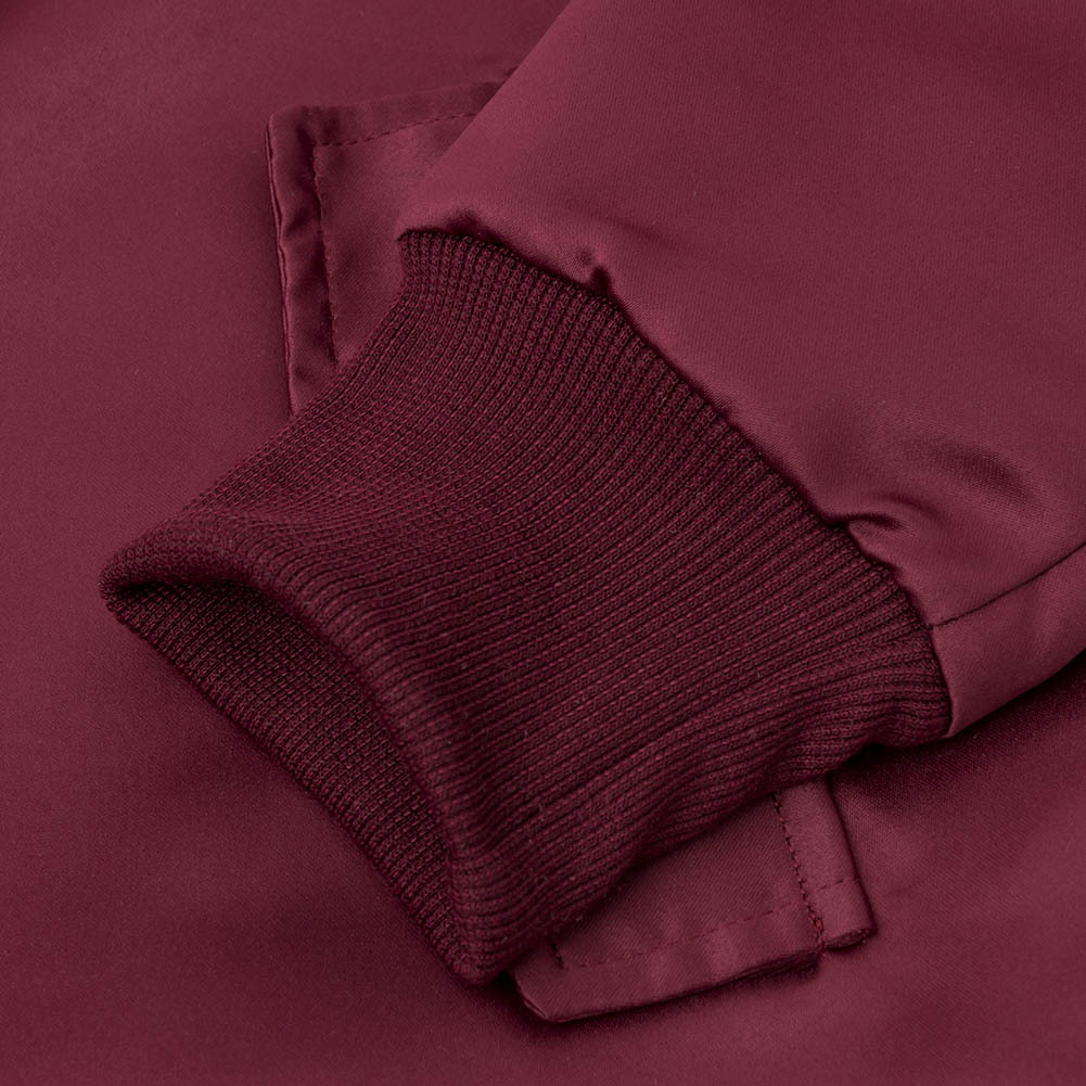 Diseño De Cremallera De Manga Larga De Moda Vino Rayón Rojo
