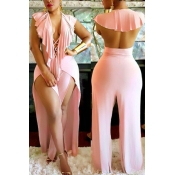 Sexy Deep V Neck Backless Pink Polyester One-piece Jumpsuits
