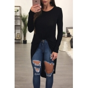 Leisure Round Neck Long Sleeves Asymmetrical Black