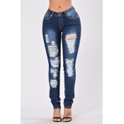 denim Solid Zipper Fly Mid Regular Pants Jeans