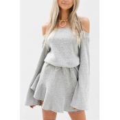 Blending Sexy Bateau Neck Long Sleeve Mini Dresses