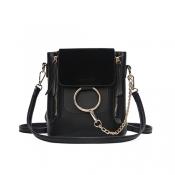 Stylish Zipper Design Black PU Crossbody Bags