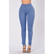 Stylish Hollow-out Blue Cotton Blends Leggings